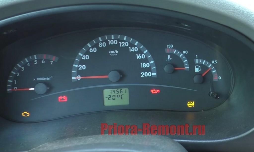 показания датчика температуры наружного воздуха на Приоре
